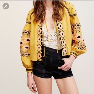 Yellow embroidered jacket